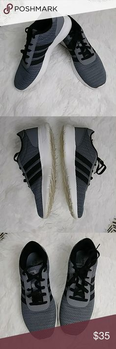 Adidas Mens 8 Gray Black Athletic Running Sneakers Adidas  Neo Cloudform Footbed Men's Size 8  Gray, black, white  Athletic Running Sneakers  Lace Up  Great pre-owned condition adidas Shoes Sneakers