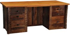 Barn wood executive desk.  Doesn't look like they used barn wood for the top or the corner posts.