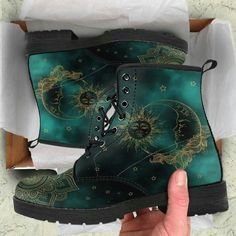 HandCrafted Green Sun and Moon Boots.,HandCrafted Green Sun and Moon Boots. Boots for Women - Face the Breeze and Weather with Appeal Women's boots : With the proper women's boots , you no. Doc Martens Boots, Zapatos Shoes, Yellow Boots, Moon Boots, Shoe Company, Timberland Boots, Timberland Fashion, Look Fashion, Fashion Sets