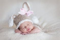 Baby Bunny Hat Crochet Tan Light BrownPerfect by HatAndColdCrochet, $25.00