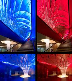 Fantastic lit walls and tower, futuristic interior, blue light, red light, neon light