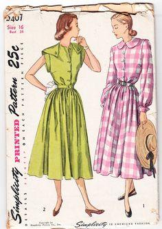 Vintage 1948 Simplicity 2407 UNCUT Sewing by SewUniqueClassique, $16.00