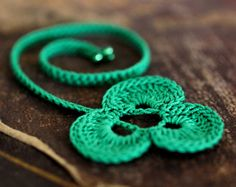 Bookmark  Clover Crochet Green Handmade Cotton by twoknit on Etsy,