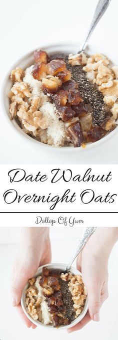 DATE Recipe Date Walnut Overnight Oats! The best make ahead breakfast. 345 calories and 16 grams of protein! Breakfast And Brunch, Make Ahead Breakfast, Paleo Breakfast, Breakfast Recipes, Breakfast Ideas, Clean Breakfast, Breakfast Smoothies, Make Ahead Brunch Recipes, Healthy Brunch