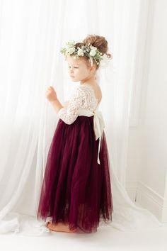 Fall Flower Girl, Flower Girl Photos, White Flower Girl Dresses, Lace Flower Girls, Girls Dresses, Burgundy Wedding Flowers, White Lace Wedding Dress, Wedding Dresses, Long Sleeve Wedding