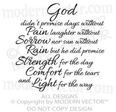 GOD, STRENGTH, COMFORT Quote Vinyl Wall Decal Inspirational ♥ religious quote
