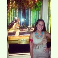 Trick or treating at disney world last night as Pocahontas :) #disney #disneyworld #fun #love #awesome #dressedup #costume #halloween #pocahontas #trickortreat #love #meeko #diycostume #nativeamerican #twins #Padgram
