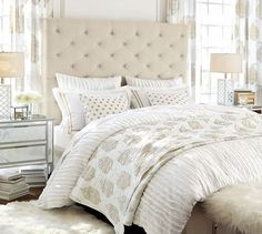 Lorraine Tufted Tall Bed & Headboard from pottery barn Bed Sets, Crib Sets, Grey Upholstered Bed, Tall Bed, Pottery Barn, Headboards For Beds, Tall Headboard, Bed Furniture, Home Decor Bedroom