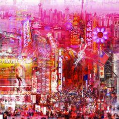 Lost in Sanghai - 95 x 95 cm - Digigraphie originale sur toile