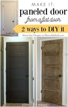 Update a boring flat door with a gorgeous modern look. Make a 5 panel door from . Update a boring flat door with a gorgeous modern look. Make a 5 panel door from a flat door - Jenna Sue Designs on Remodelaholic Home Renovation, Home Remodeling, 5 Panel Doors, Door Panels, Mdf Doors, Wood Doors, Wood Closet Doors, Glass Panels, Closet Walk-in
