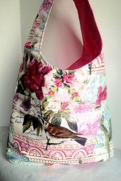NEW  Deluxe Laminate , cross body bag Messenger bag, sling Michael Miller  vintage inspired French Floral in pink floral