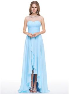 Empire Scoop Neck Asymmetrical Chiffon Tulle Evening Dress With Beading Sequins Cascading Ruffles