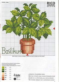 Greenery in flower pot cross stitch pattern and color chart.