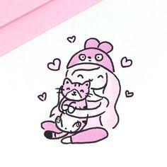 "7,969 Likes, 19 Comments - ⭐️KiraKiraDoodles (@kirakiradoodles) on Instagram: ""On Wednesdays we wear pink! plus kitty hugs ☺️ • • #kawaii #pink #doodle #kitty #copicmarkers…"""