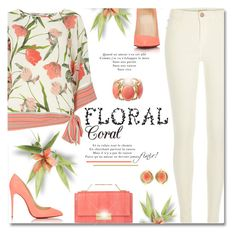 """Floral Coral"" by truthjc ❤ liked on Polyvore featuring River Island, Billie & Blossom, J. Mendel and Christian Louboutin"