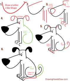 Step letter j doggy drawing steps Big Guide to Drawing Cartoon Dogs & Puppies with Basic Shapes for Kids