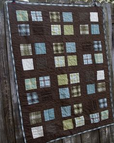 Fun boy quilt, brown and blue