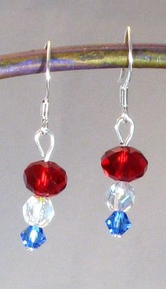 Red White & Blue MiniDangle Earrings Fourth by RoseGirlCreations, $10.00