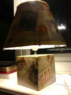I covered this lamp with decoupage text and images from an unusual book catalogue my dad subscribes to.