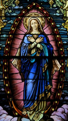 File:Saint Mary of the Assumption Church (Columbus, Ohio) - stained glass, Mary of the Immaculate Conception, detail. Stained Glass Church, Stained Glass Paint, Stained Glass Windows, Religious Pictures, Jesus Pictures, Blessed Mother Mary, Blessed Virgin Mary, Catholic Art, Religious Art
