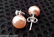 7--8MM Freshwater pink Pearl Silver Stud Earring Jewellery