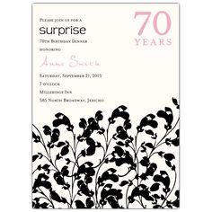Glamour+Garden+70th+Birthday+Invitations