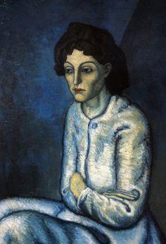 Pablo Picasso, FEMME AUX BRAS CROISÉS, 1902, 60 cm x 81 cm, colore ad olio, collezione privata