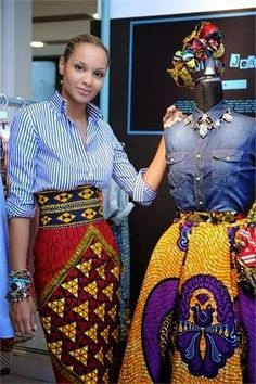 agirlsworldspinning: divalocity: The designer Stella Jean. When in doubt wear Stella Jean! Love the cultural mix Black Girls Killing It African Print Dresses, African Wear, African Attire, African Women, African Dress, African Prints, African Style, African Shop, African Inspired Fashion