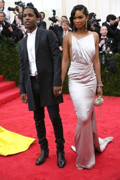 Met Ball Gala Red Carpet Arrivals - 2014 - Dress Code - White Tie & Tails . . . ASAP Rocky, in Topman, & Chanel Iman, in Topshop