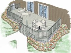 Eplans Deck Plan - A Built-in Grill Area with More Open Deck Space from Eplans - House Plan Code HWEPL74886