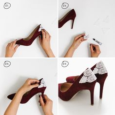 Below,we have chosen 16 Fabulous DIY Heels projects that should be your inspiration. These DIY projects are so easy to be done, and they won't cost you much High Heels Boots, Lace Heels, Black Friday Shoes, Shoe Makeover, Shoe Refashion, Flipflops, Stoff Design, Bridal Heels, Embellished Shoes