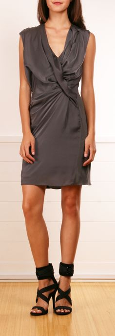 gray draped dress . . . which must be worn with bright sparkly jewelry and fun wedges; the design and drape are beautiful, but bright accessories will make it sing!