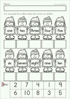 Winter Math Worksheets & Activities - Winter No Prep. A page from the unit: numeral to number word cut and paste matchKindergarten Winter Math Worksheets & Activities - Winter No Prep. A page from the unit: numeral to number word cut and paste match English Activities, Math Activities, Kindergarten Prep, Number Words, Teaching Math, Maths, Multiplication Games, Teaching Numbers, Math Math