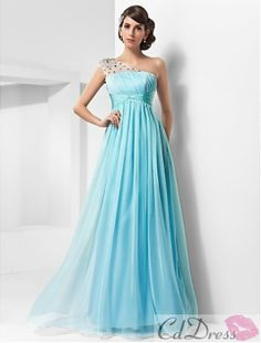 Pretty A-line One Shoulder Floor-length Chiffon And Tulle Evening Dress - Evening Dresses - Special Occasion Dresses - CDdress.com