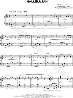 Print and download Hallelujah sheet music by Leonard Cohen arranged for Piano. Instrumental Solo in C Major.