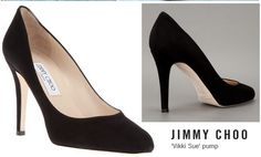 Black suede pump with an almond toe and hidden platform from Jimmy Choo.