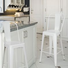 Adeco Tolix Style Metal Barstool With Back, set of two (white)