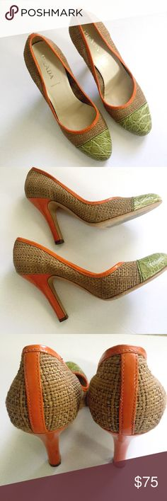 "Prada Straw and Crocodile Heels Size 37. GUC. 4"" Heels. Straw heels with orange heels and lining. Tips are green crocodile. No box or dust bag provided. Prada Shoes Heels"