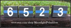 Police Badge Number Blocks, Thin Blue Line, Wooden Blocks, LEO, Law Enforcement, LEOW, Police Wife, Custom Wooden Signs, Distressed Signs