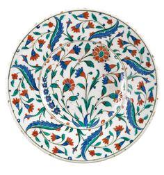 A polychrome Iznik pottery dish, Turkey, second half century Slab Pottery, Glazes For Pottery, Ceramic Pottery, Pottery Art, China Painting, Ceramic Painting, Ceramic Artists, Turkish Art, Turkish Tiles