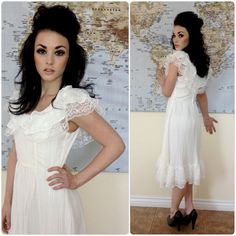 White Candy Jones Boho Mexican Vintage Wedding Dress with Ruffles and Lace Detail - Hippie, Picnic, Bohemian, Indie,  Fiesta, Cinco De Mayo. $85.00, via Etsy.