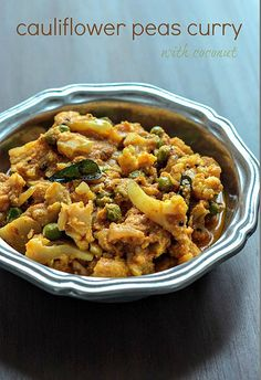 Cauliflower Green Peas Curry with Coconut, Step by Step Recipe