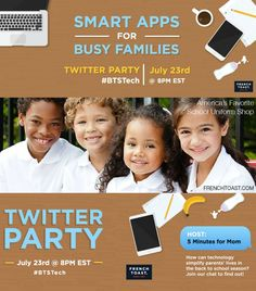 Smart Apps for Busy Families BTSTech Twitter Party - How technology can simplify parents lives in the back to school season.
