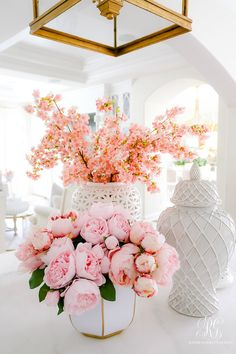 Spring Home Tour + Styling Tips you will Love - Randi Garrett Design pink cherry blossoms faux - fau Decorated Jars, Spring Home Decor, Faux Flowers, Exotic Flowers, Fresh Flowers, Purple Flowers, Pink Peonies, Yellow Roses, Pink Roses