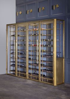The Brass Wine Room is made from solid brass with insulated glass keeping your collection chilled while it rests on our custom wine shelves, part of our Collectors Shelving System. Wine Shelves, Wine Storage, Glass Shelves, Wine Cabinets, Storage Cabinets, Storage Units, Wine Chiller, Wine Cellars, Wine Display