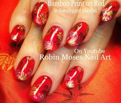 Nail Art Tutorial | DIY Nail Design | Chinese Red & Bamboo Nails
