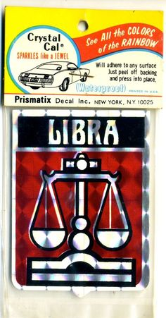 vtg prismatic sticker novelty Zodiac Sign Libra scales retro novelty van vanner