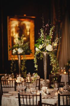 silver and green reception | Green and Cream Reception Arrangements in Silver Trumpet Vases