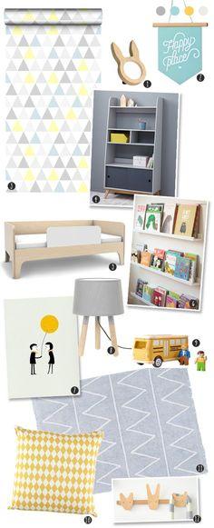 Sélection d'objets pour une chambre rétro scandinave en gris et bois