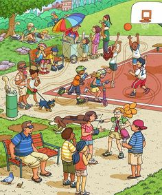 These are from my recent work for Highlights' Eagle Eye Hidden Picture magazine  starting Heidi and Zeke. Typically there are stories that accompany each illustration.